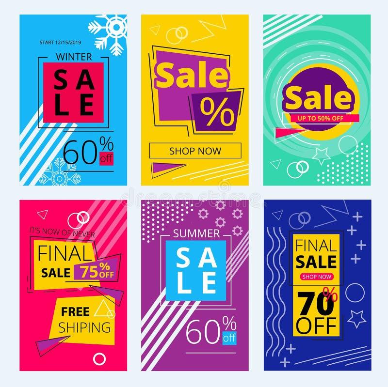 Tarjetas de moda de las ofertas La geometría colorida de las banderas de la venta forma la plantilla retra del vector del estilo  ilustración del vector
