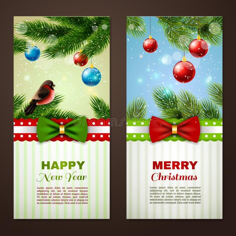 Tarjetas de Navidad 2 banderas fijadas stock de ilustración