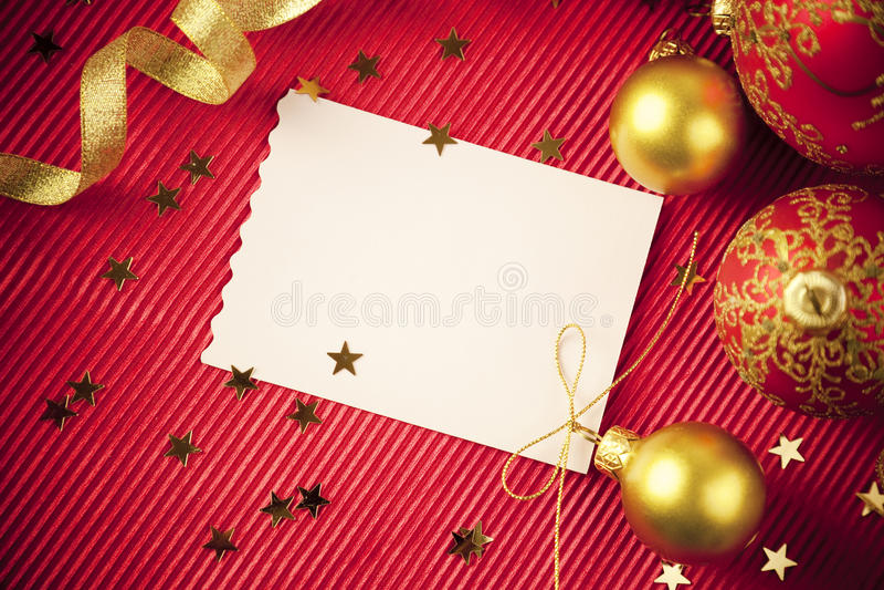 Tarjetas de Navidad/con el espacio/el rojo y el oro de la copia fotografía de archivo libre de regalías