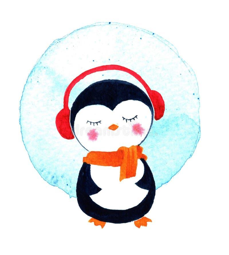 Tarjetas de Navidad con el pequeño pingüino lindo ejemplo de la acuarela aislado stock de ilustración