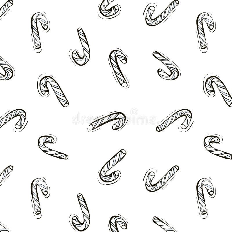 Tarjetas de Navidad dibujadas a mano con un patrón de repetición de latas de caramelo en blanco negro Ilustración del vector foto de archivo