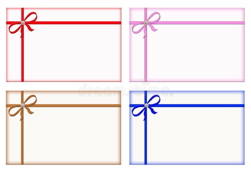 Tarjetas de regalo con las cintas coloreadas, tarjeta de nota, conjunto libre illustration