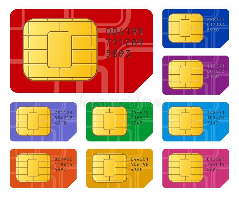 Tarjetas de SIM ilustración del vector