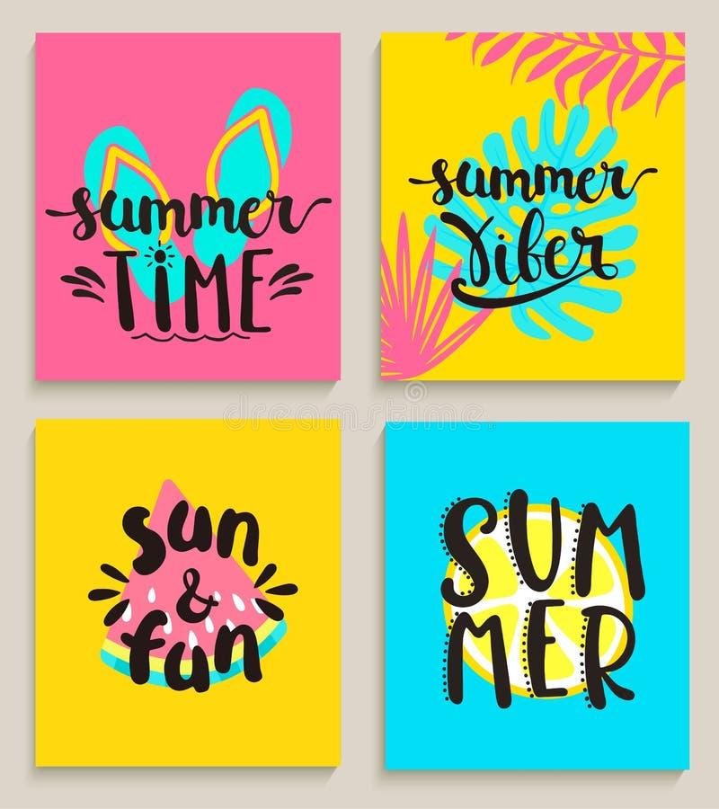 Tarjetas de verano brillantes libre illustration