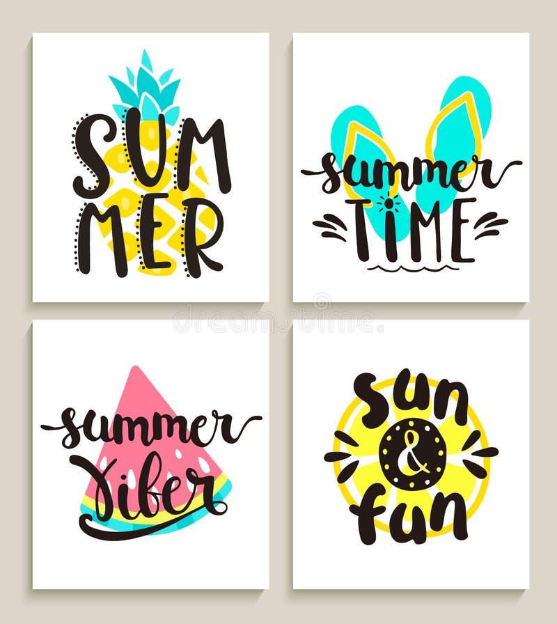 Tarjetas de verano brillantes en el fondo blanco stock de ilustración
