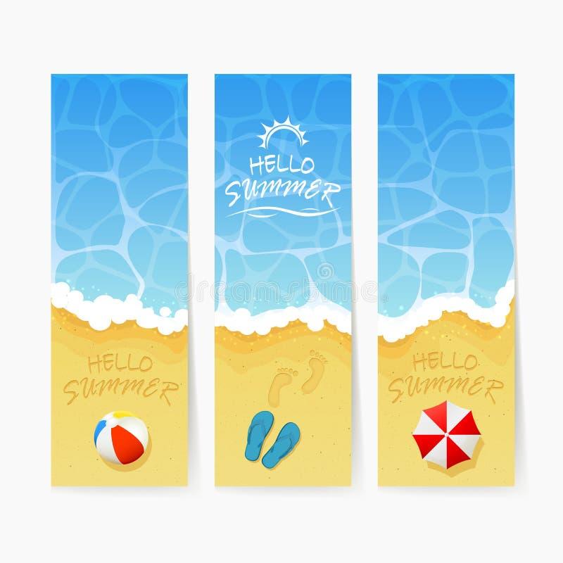 Tarjetas de verano de la playa stock de ilustración