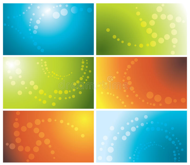 Tarjetas de visita coloridas fijadas ilustración del vector