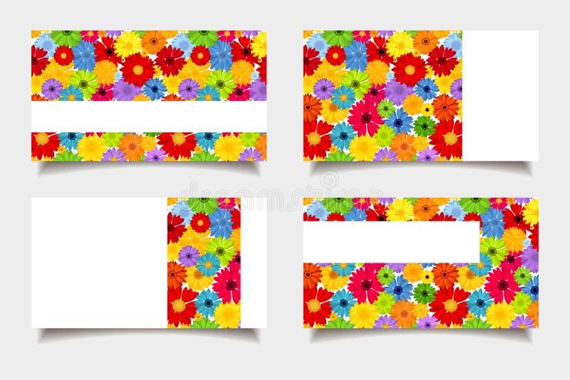 Tarjetas de visita con las flores coloridas Ilustración del vector stock de ilustración