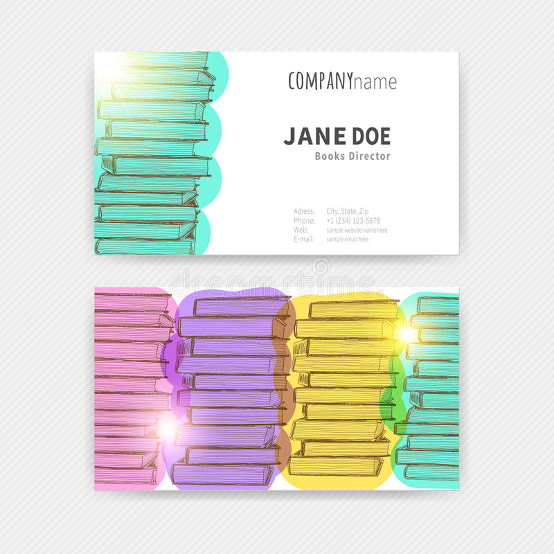 Tarjetas de visita con textura colorida de los libros stock de ilustración
