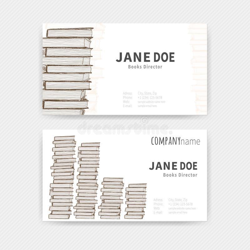 Tarjetas de visita con textura de los libros stock de ilustración