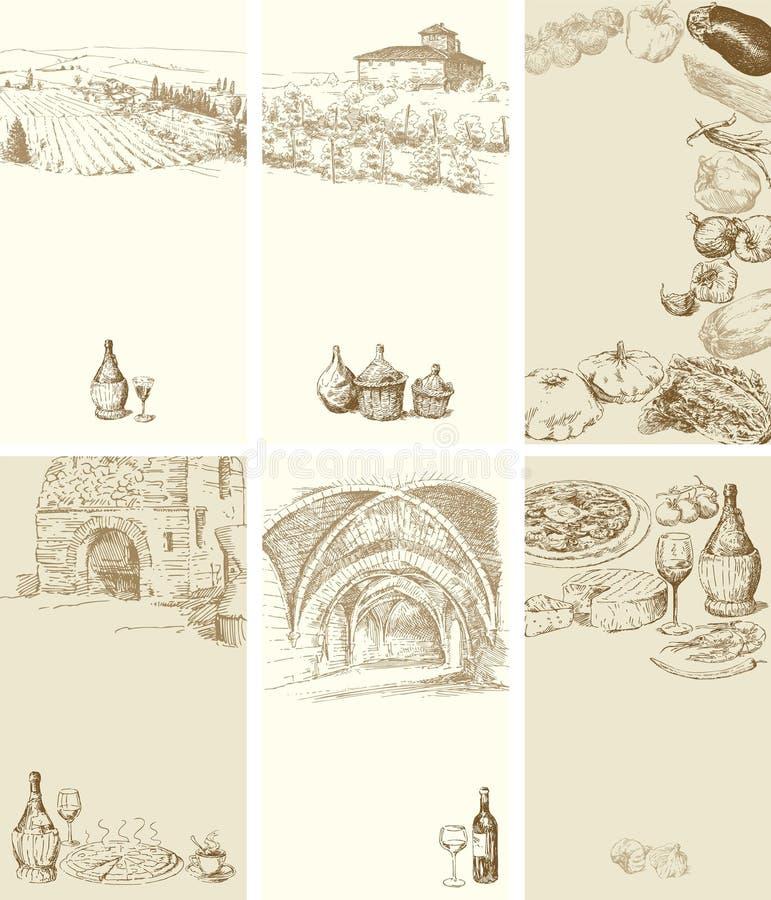 Tarjetas de visita de la vendimia ilustración del vector