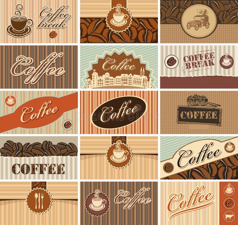 Tarjetas de visita del café stock de ilustración