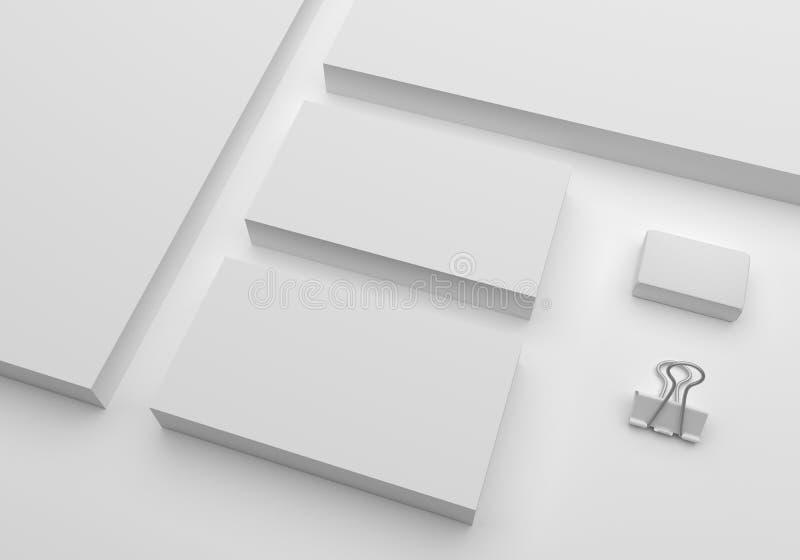 Tarjetas de visita en blanco de la maqueta del ejemplo 3D stock de ilustración