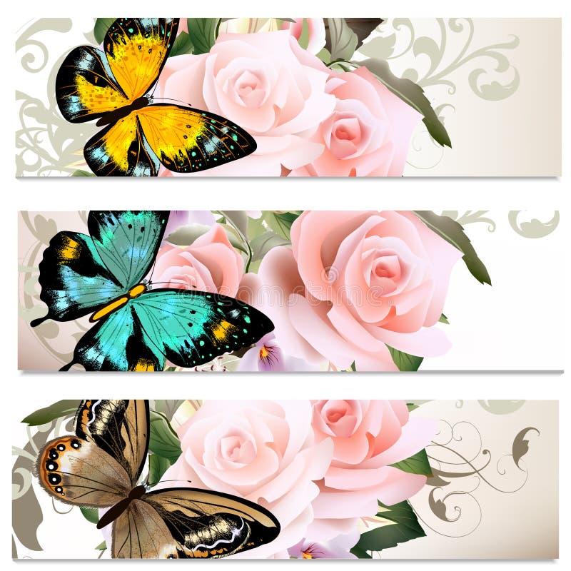 Tarjetas de visita fijadas con las rosas para el diseño stock de ilustración