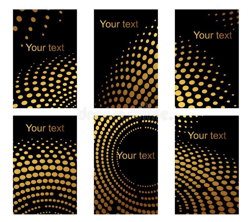 Tarjetas de visita fijadas con los puntos de oro libre illustration