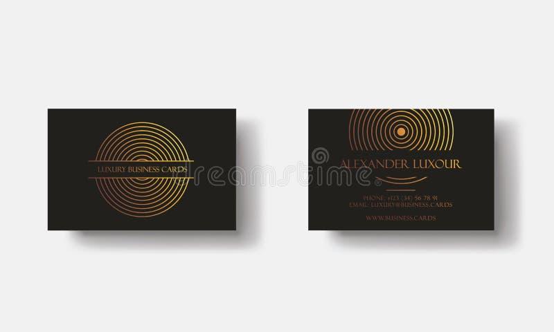 Tarjetas de visita de lujo del oro negro para el evento del VIP Tarjeta de felicitación elegante con el modelo geométrico del cír stock de ilustración