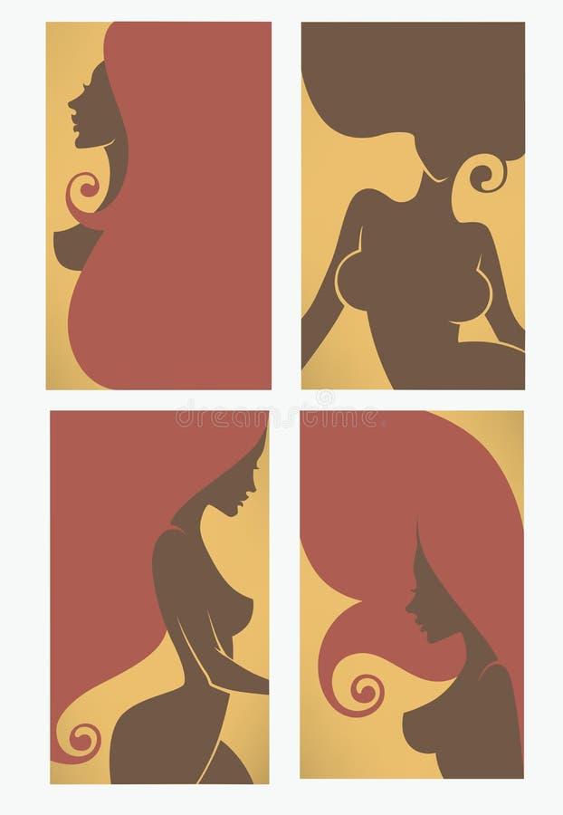 Tarjetas de visita para el salón de belleza, peluqueros, solenoide libre illustration
