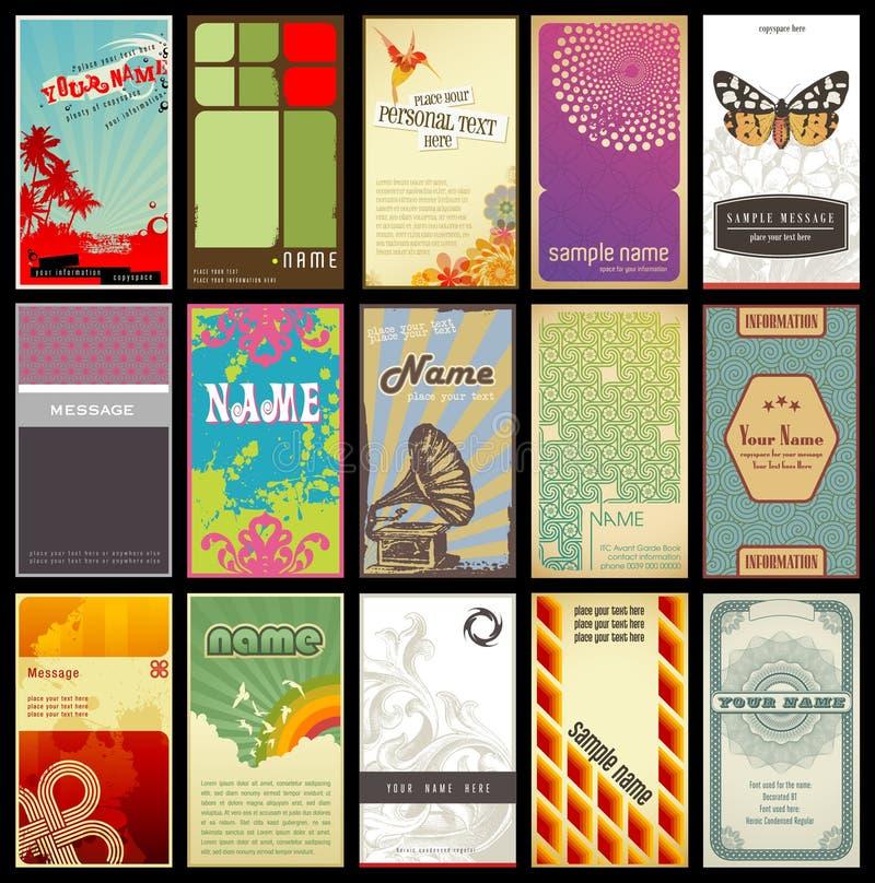 Tarjetas de visita retras clasificadas - diversos estilos stock de ilustración