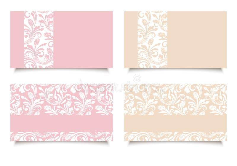 Tarjetas de visita rosadas y beige con los estampados de flores Vector EPS-10 stock de ilustración