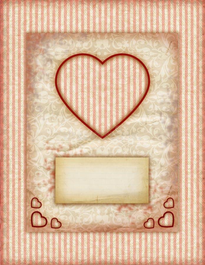 Tarjetas del amor del día de tarjeta del día de San Valentín, notas del amor de la vendimia stock de ilustración