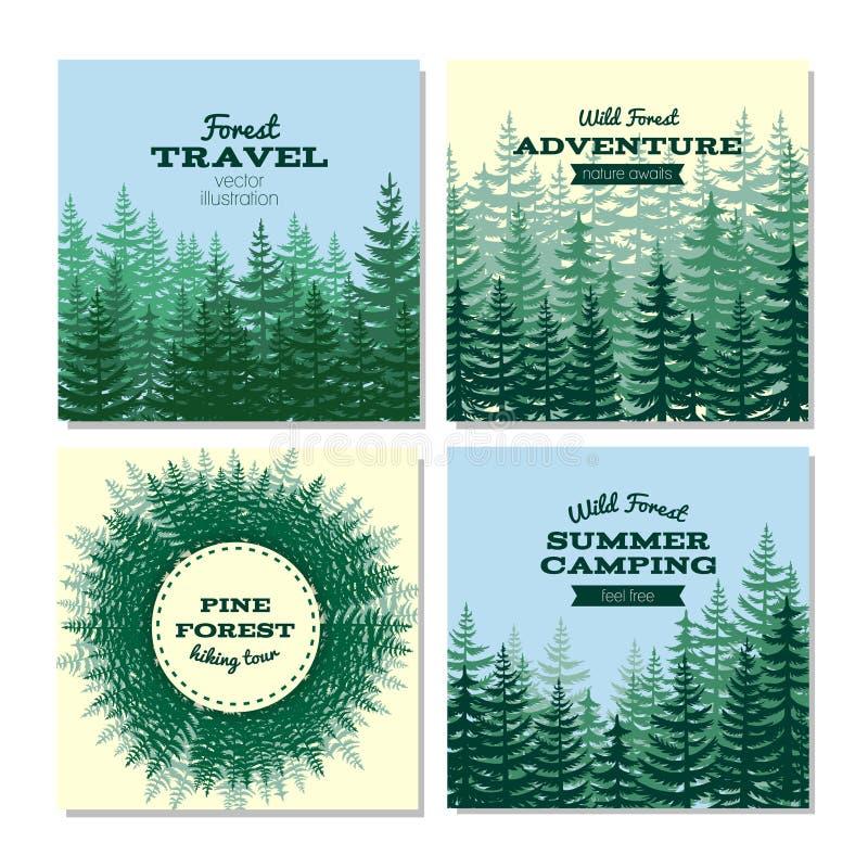 Tarjetas del cartel del estilo de la madera de construcción Carteles salvajes del bosque del pino de la naturaleza ilustración del vector