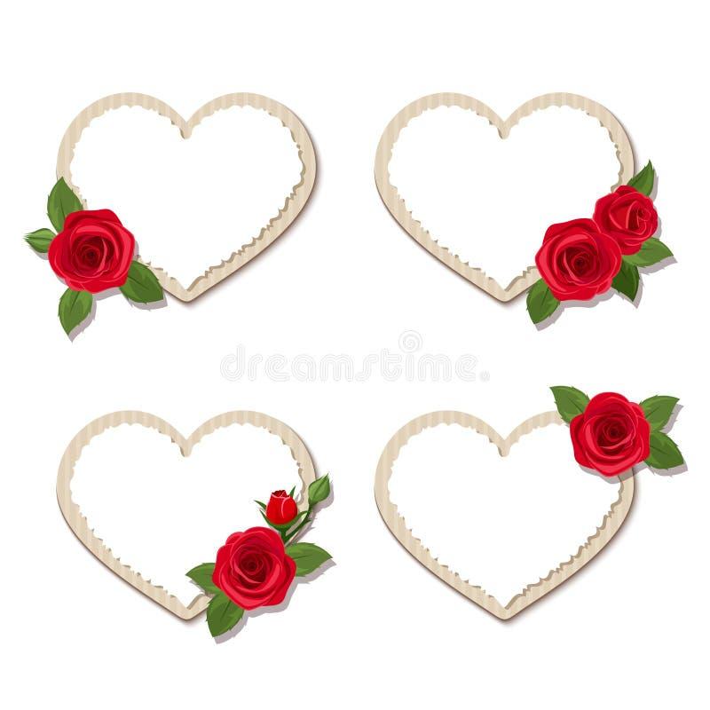 Tarjetas del corazón del día de tarjeta del día de San Valentín con las rosas rojas Vector EPS-10 ilustración del vector