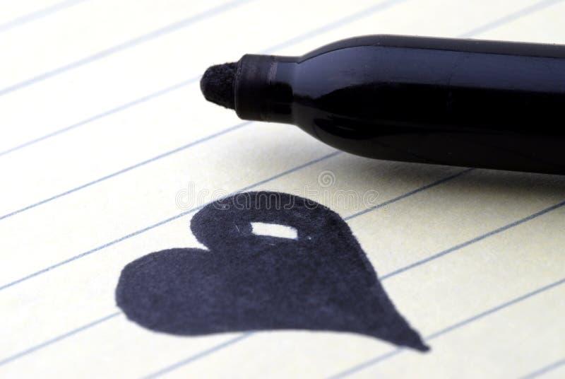 Tarjetas del día de San Valentín - corazón negro imagenes de archivo