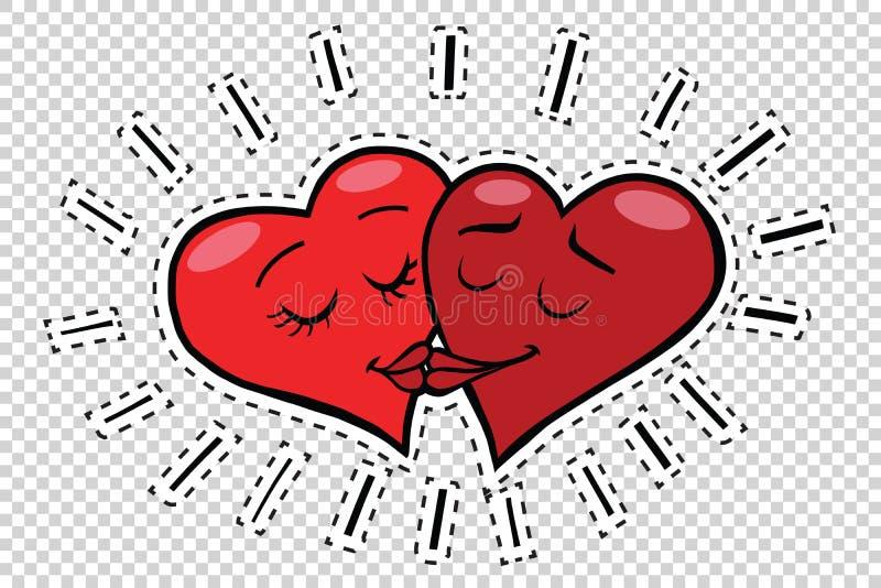 Tarjetas del día de San Valentín de los corazones del beso stock de ilustración