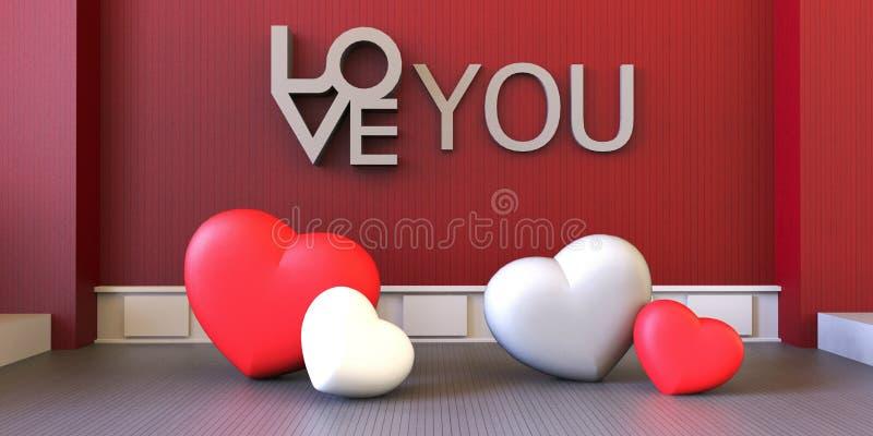 Tarjetas del día de San Valentín del amor - rojas y sitio moderno del corazón blanco en fondo del rojo de la exhibición ilustración del vector