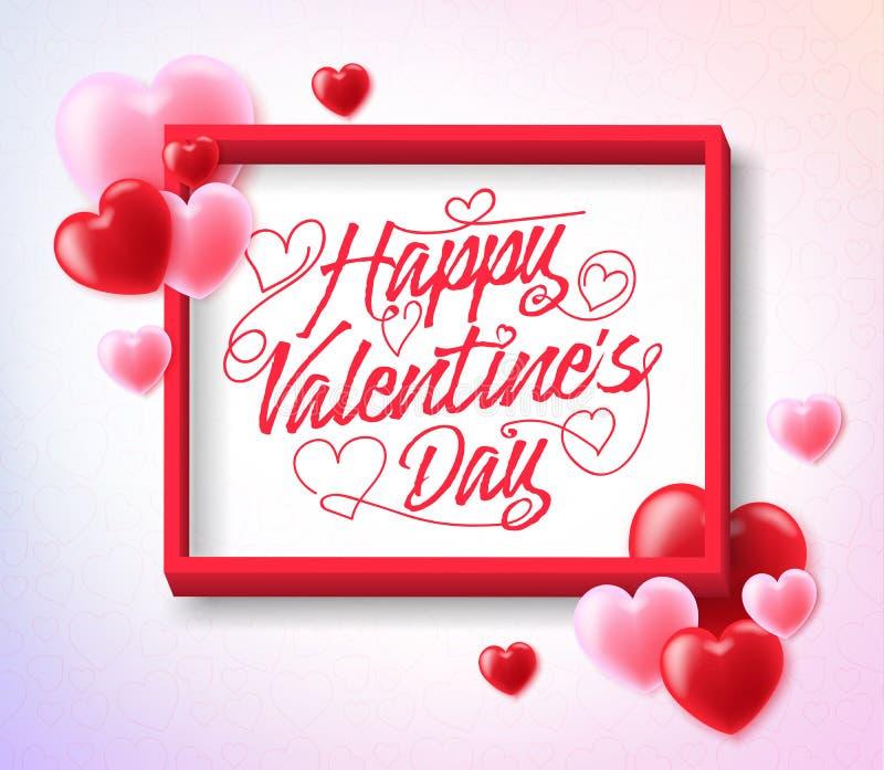 Tarjetas del día de San Valentín felices que saludan dentro del marco con los corazones rojos y rosados stock de ilustración