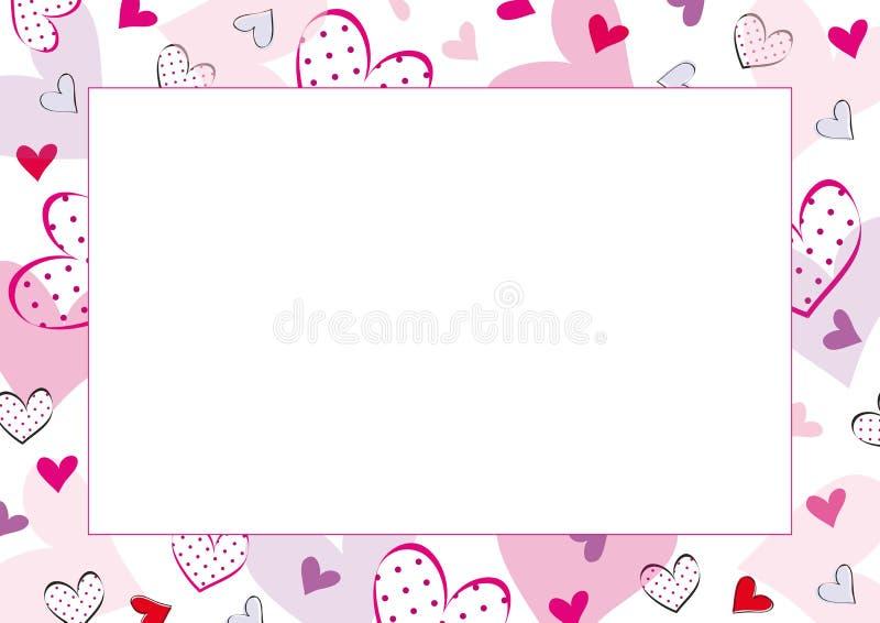 Tarjetas del día de San Valentín o marco de la boda stock de ilustración