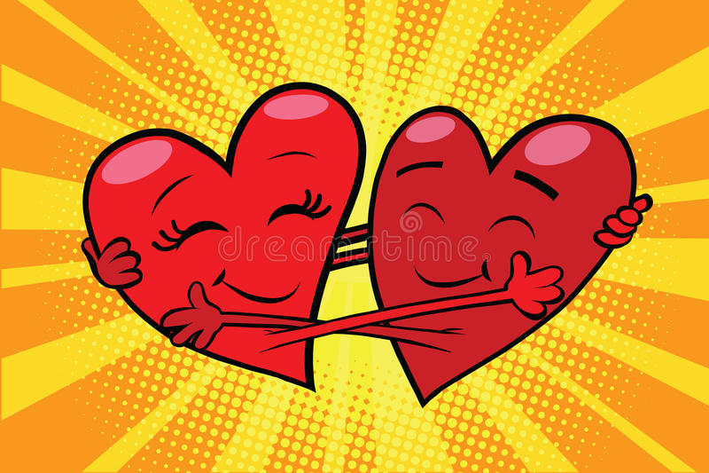 Tarjetas del día de San Valentín rojas de los corazones del amor eterno ilustración del vector