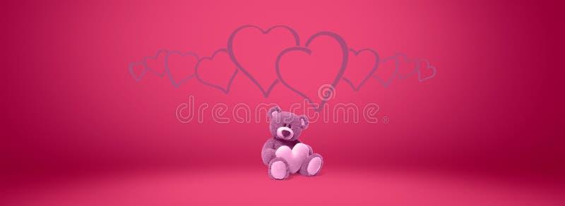 Tarjetas del día de San Valentín y amor, tarjeta del día de San Valentín, fondo del corazón del día del peluche del oso foto de archivo libre de regalías