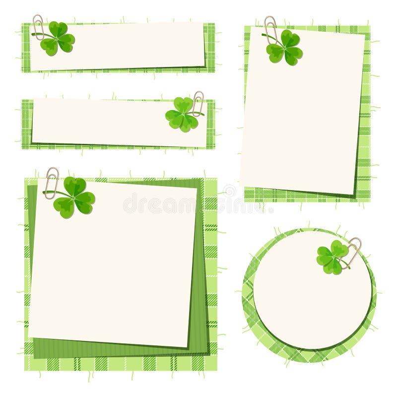 Tarjetas del día de St Patrick con el trébol y el tartán Vector EPS-10 ilustración del vector