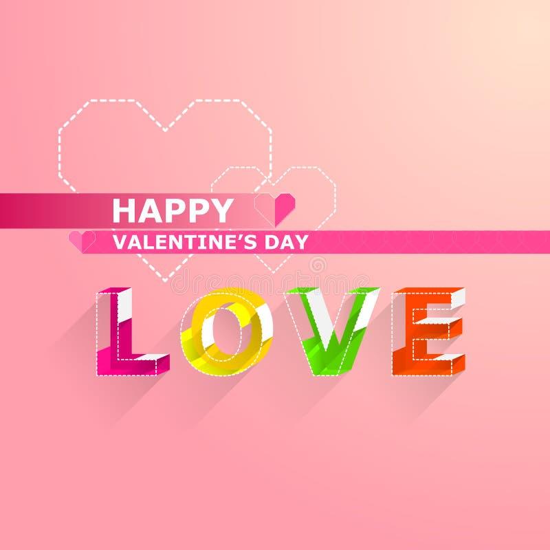 Tarjetas del día de tarjeta del día de San Valentín Letra del color en estilo isométrico ilustración del vector