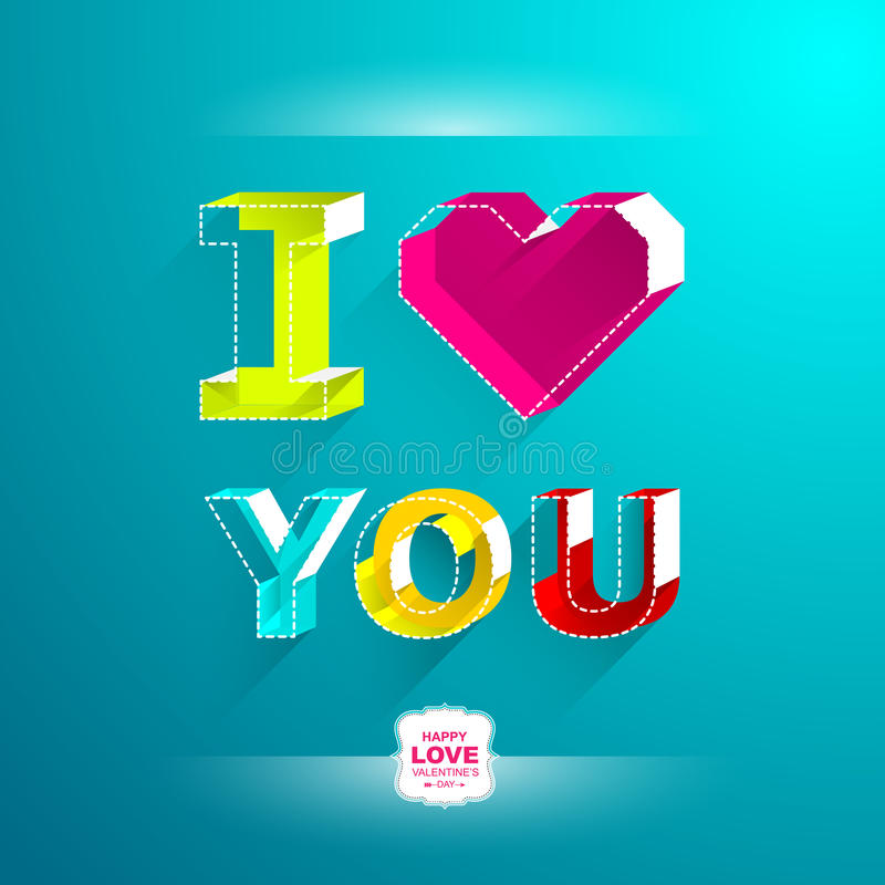 Tarjetas del día de tarjeta del día de San Valentín Te amo Coloree el estilo isométrico de la letra stock de ilustración