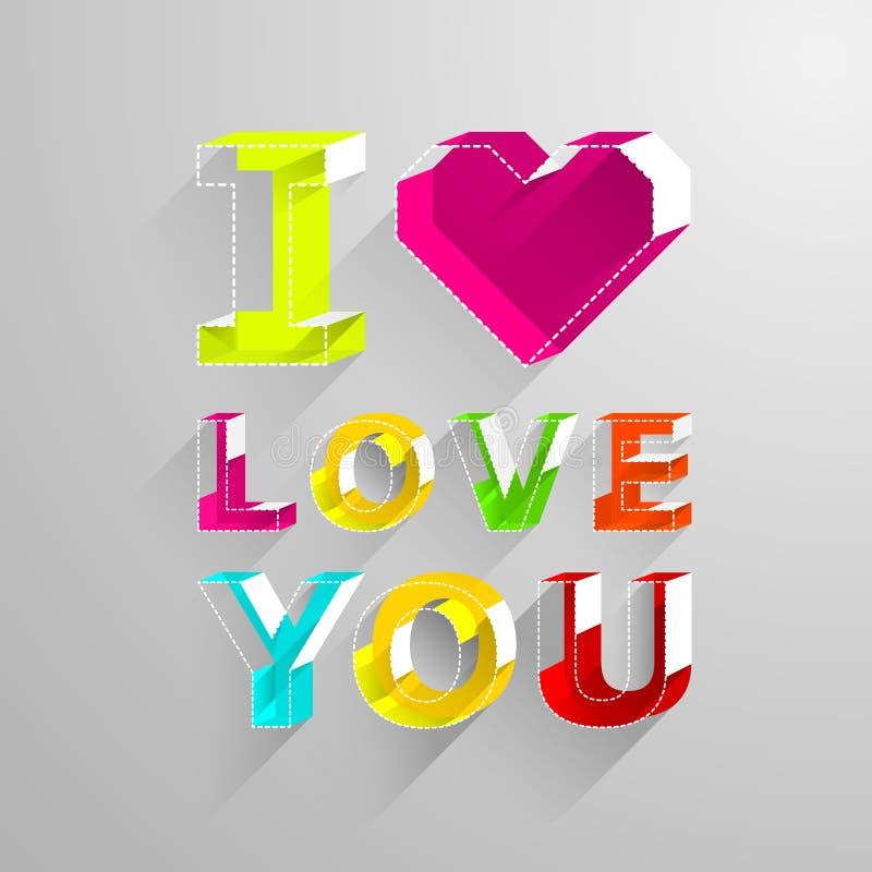 Tarjetas del día de tarjeta del día de San Valentín Te amo Letra del color en estilo isométrico ilustración del vector
