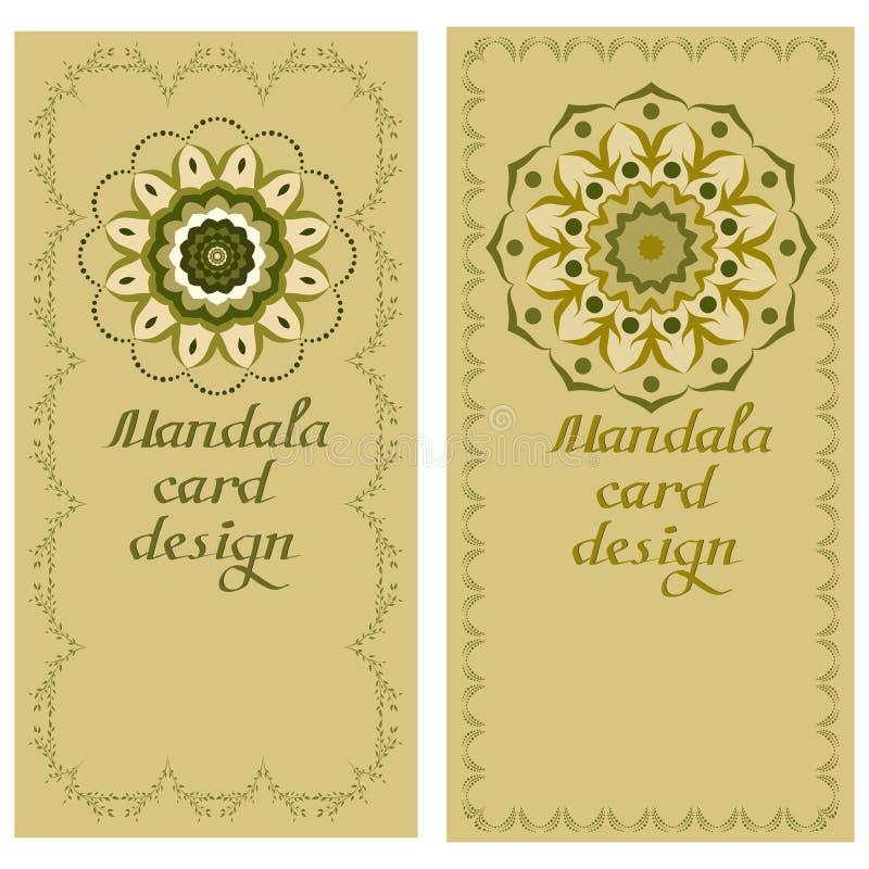 Tarjetas del diseño de la mandala del negocio Elementos decorativos stock de ilustración