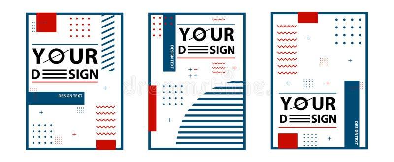 Tarjetas del estilo de Memphis Fije de plantillas en la moda de moda 80-90s de Memphis Perfeccione para el anuncio, tarjetas de f stock de ilustración
