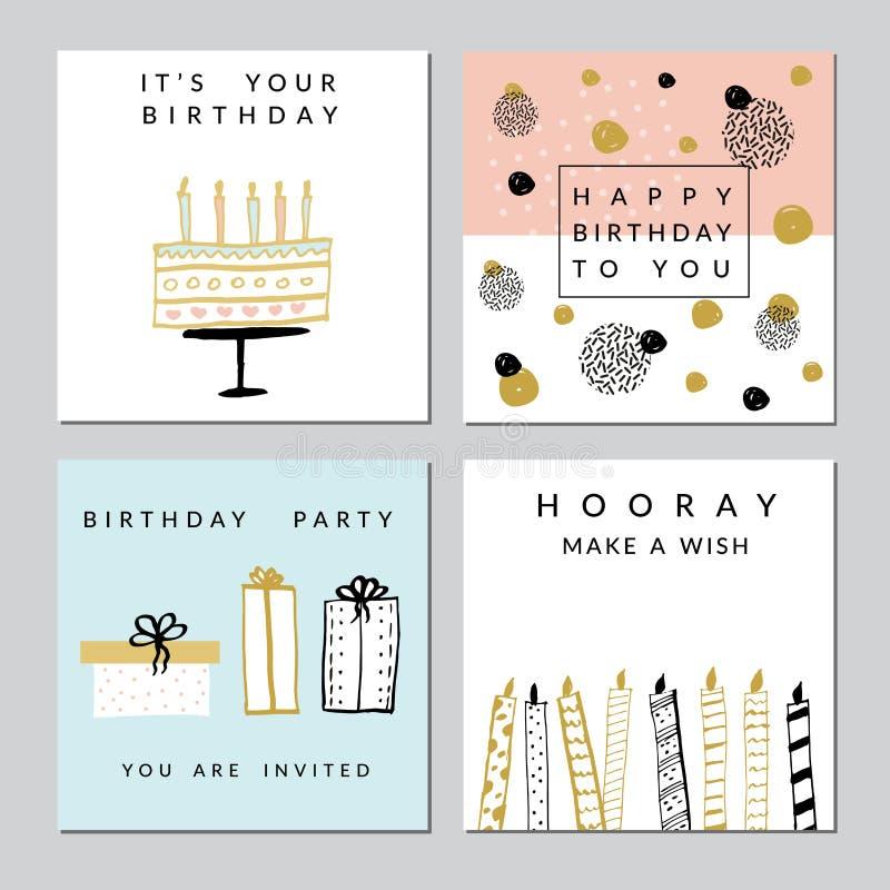 Tarjetas del feliz cumpleaños stock de ilustración