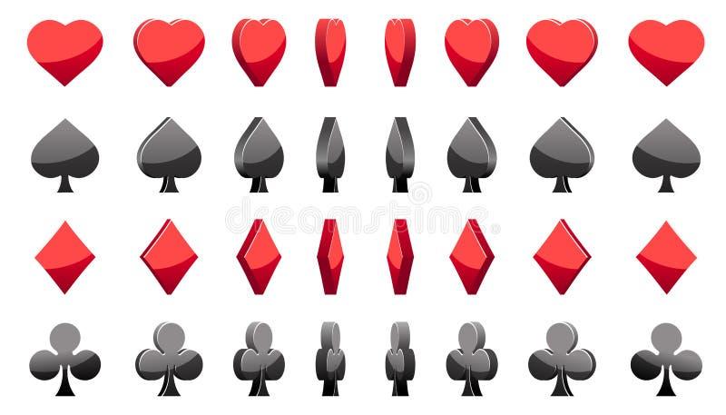 tarjetas del póker de los símbolos 3D, rotación del juego de la animación del vector stock de ilustración