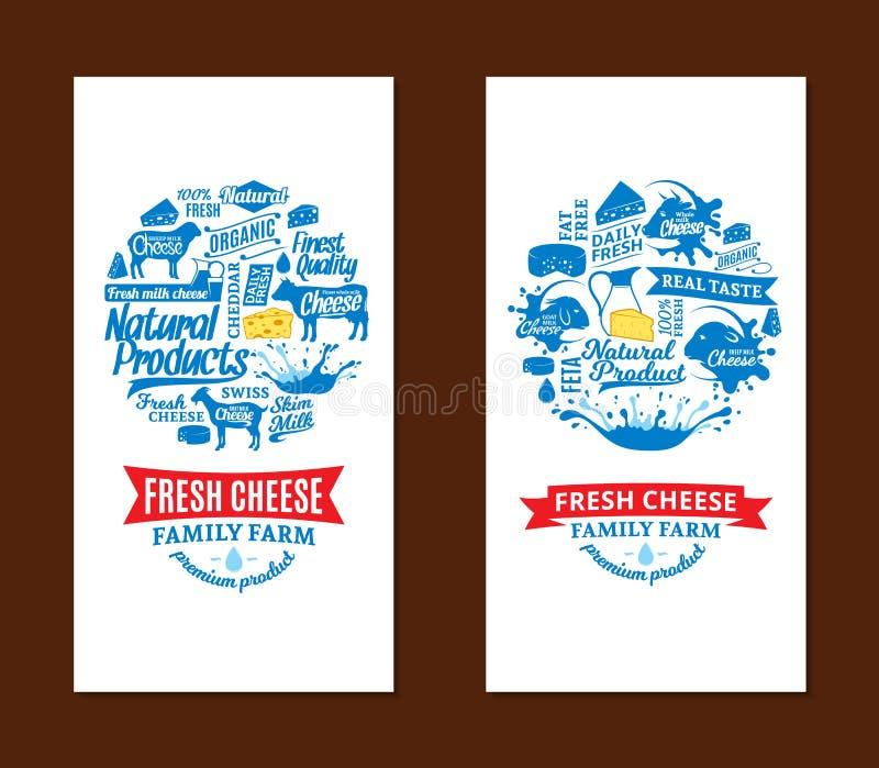 Tarjetas del queso del vector stock de ilustración