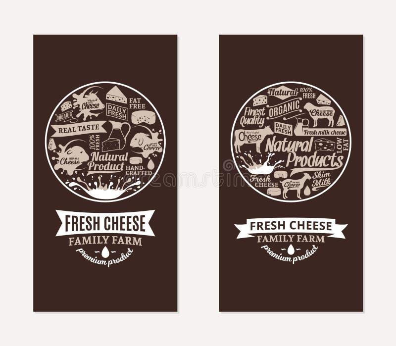 Tarjetas del queso del vector ilustración del vector