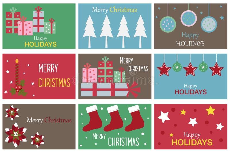 Tarjetas del regalo de la Navidad ilustración del vector