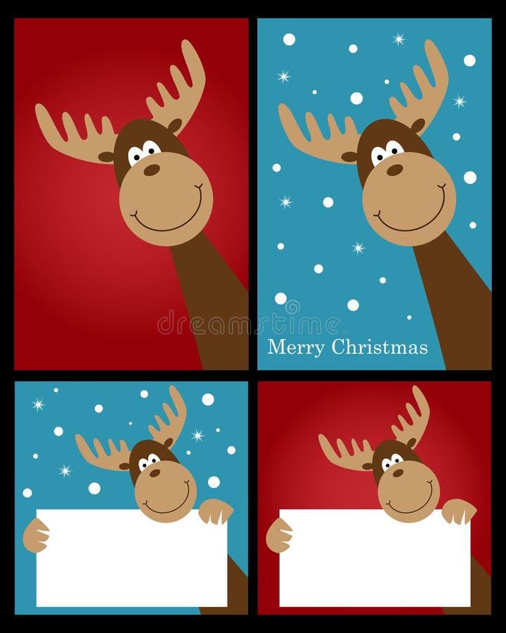 Tarjetas del reno de la Navidad ilustración del vector