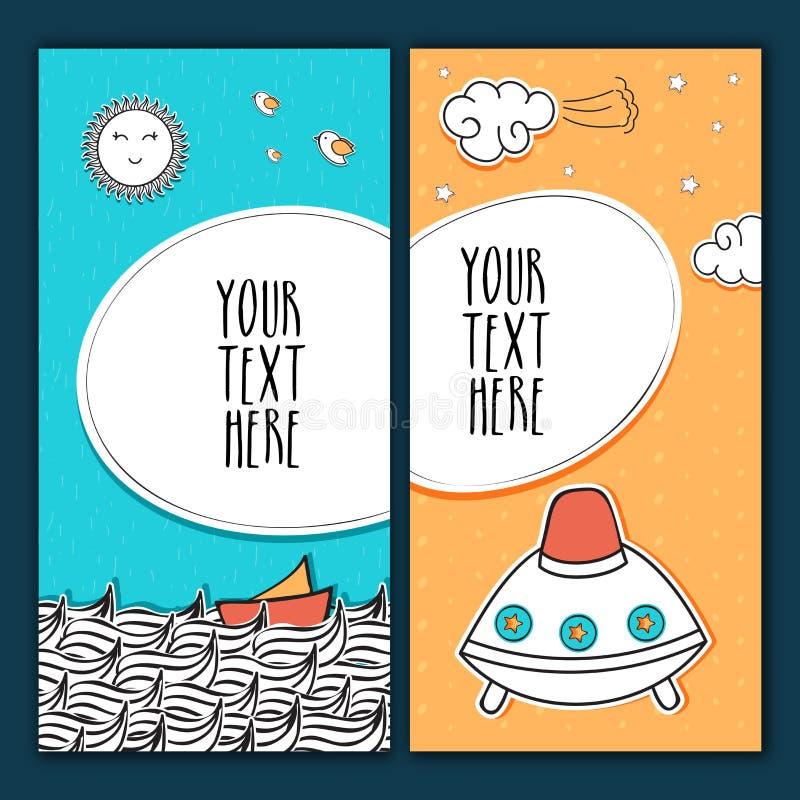 Tarjetas del saludo o de la invitación en estilo del garabato stock de ilustración
