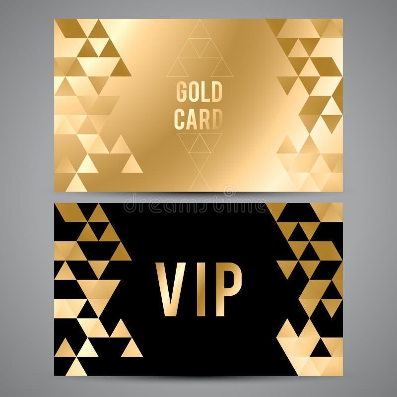 Tarjetas del Vip Diseño negro y de oro triángulo stock de ilustración