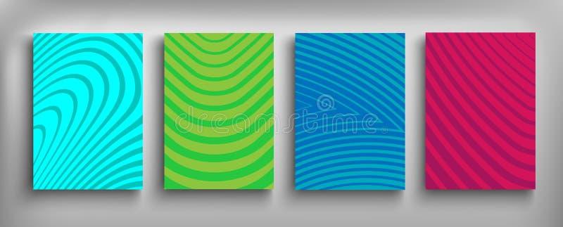 Tarjetas determinadas del diseño de la cubierta del folleto aisladas Diseño plano de la moda dinámica Cartel, bandera, aviador, c ilustración del vector