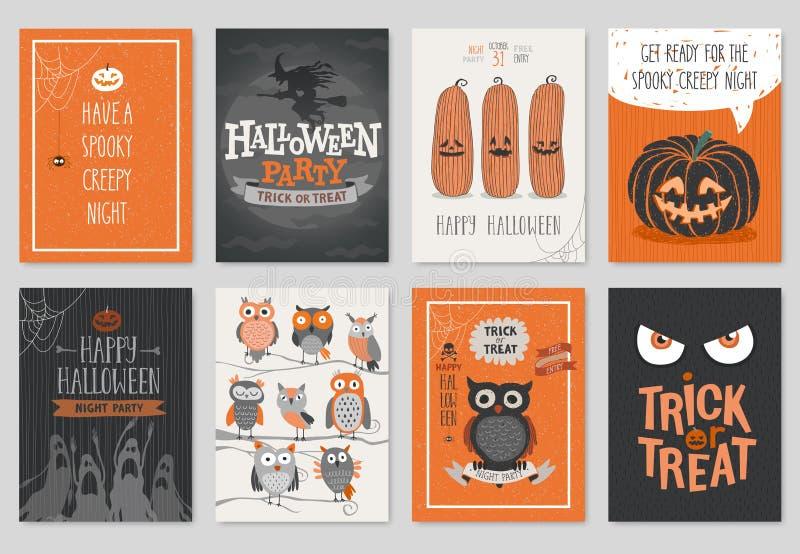 Tarjetas dibujadas mano de la invitación o de felicitación de Halloween fijadas stock de ilustración