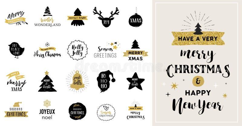 Tarjetas dibujadas mano, ejemplos e iconos de la Feliz Navidad stock de ilustración